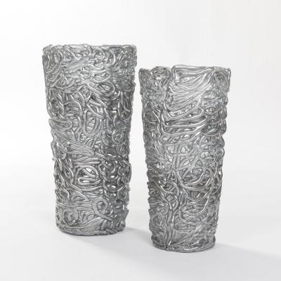 Paire De Vases En Verre De Murano Couleur Argenté Milieu Du Siècle En Veines De Verre