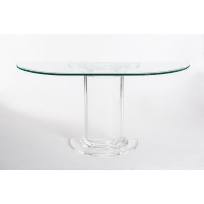 Table console italienne du milieu du siècle en plexiglas avec plateau en verre cristal