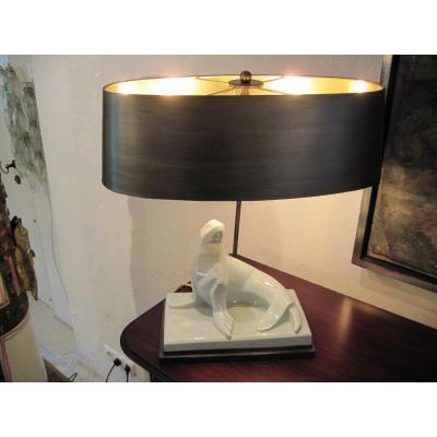 Lampe de table Art Déco extraordinaire d'un joint en céramique