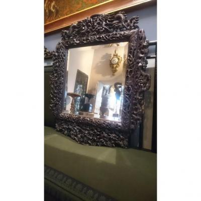 Mirror With Frame Sculpted Sino Vietnamese