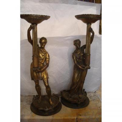 Paire de torchères en bronze