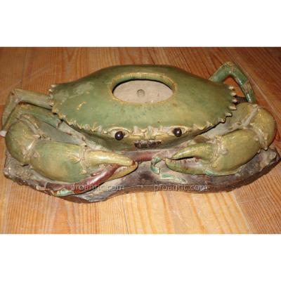 Crabe & Poisson En Céramique, 19e Siècle