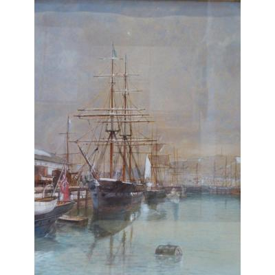 English Brick Moored In A Port, Watercolor Dated 1881
