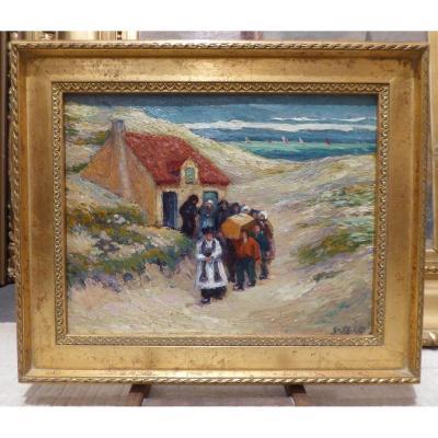 l'Enterrement Dans Les Dunes (temp Beau) Par Gregoire Le Roy (1862-1941)
