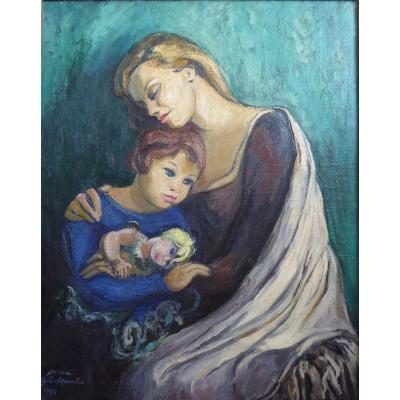 Grand Tableau «maternité», 1951 Par Jeanne Alice Gil-marchex (1895 -1965)