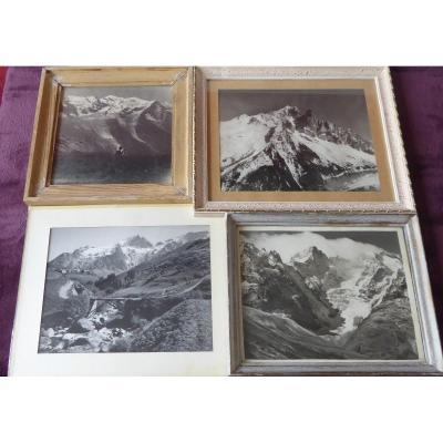 4 Photos De Montagne Anciennes, Meige Et Mont Blanc