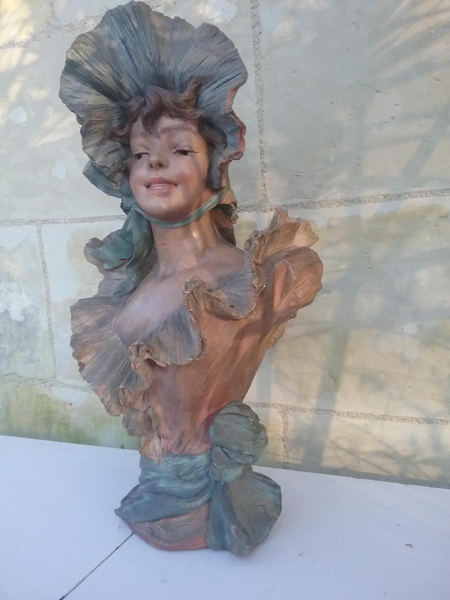 Art Nouveau Girl Bust In Terracotta