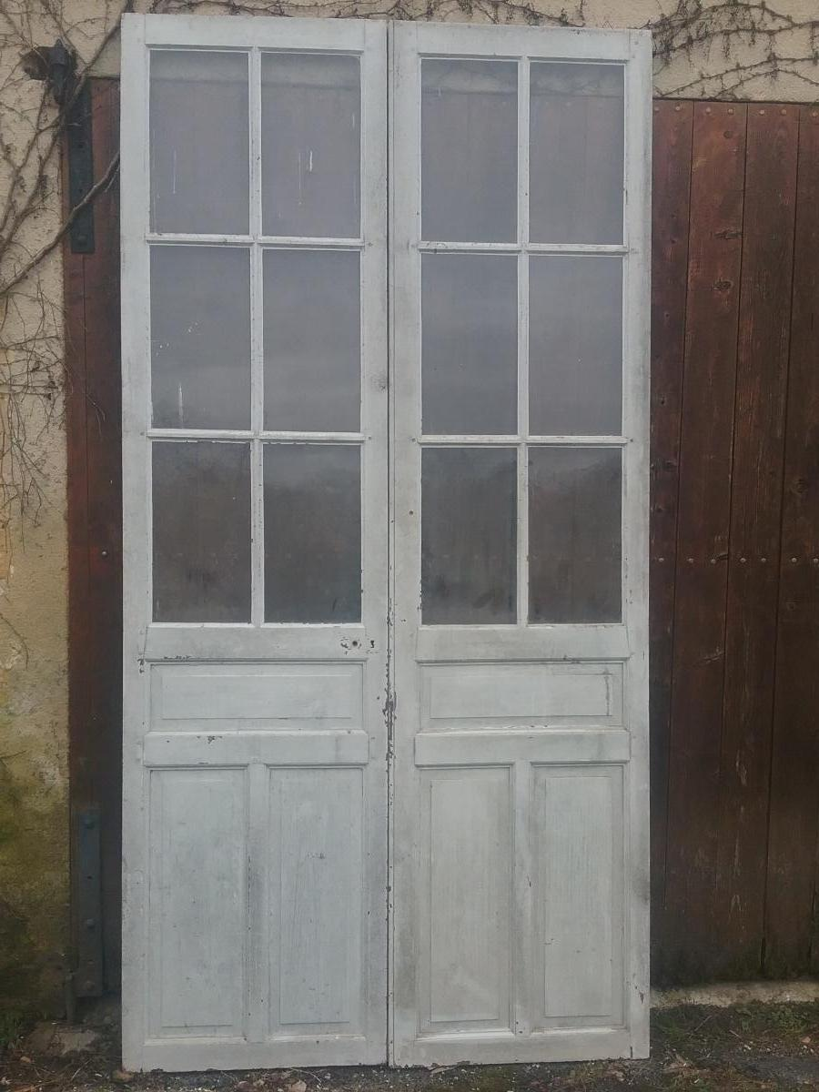 Oak Double Door Communication Window