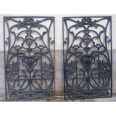 2 Grilles De Porte Art Nouveau