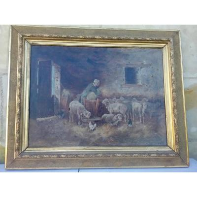 Painting Representing The Inside Of A Sheepfold
