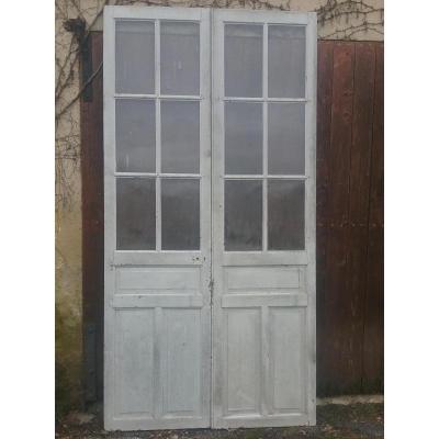 Oak Double Door Communication Window
