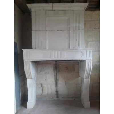 Louis XVI White Stone Trumeau Fireplace