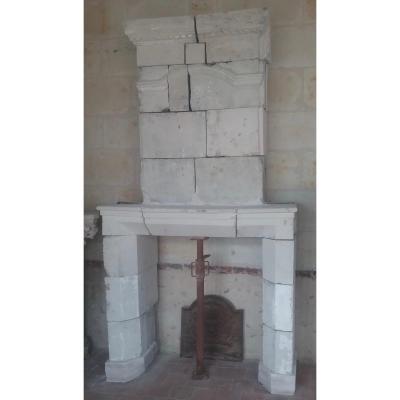Louis XIII White Stone Fireplace