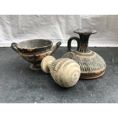 Lot Of 3 Small Greek Ceramics