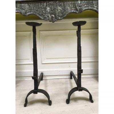 Antiques Andirons Landiers  A Cups Full Wrought Iron XVII Century