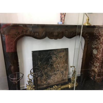 Large Régence Walnut Fireplace