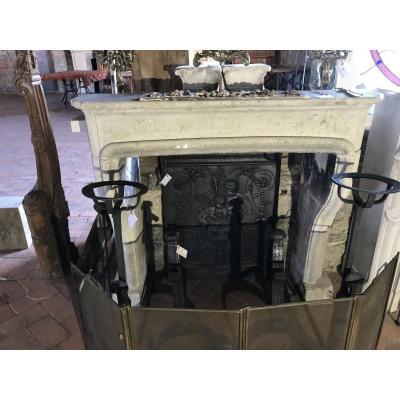 Small Louis XIV Pierre Fireplace