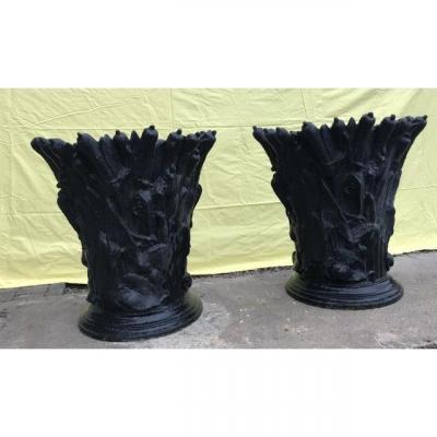 Paire Vases Fonte Art Nouveau