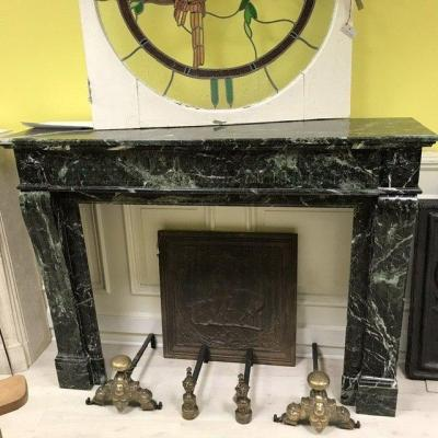 Louis XVI Green Marble Fireplace