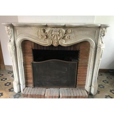 Louis XV Three Coquilles Fireplace