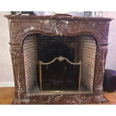 Louis XV Red Marble Fireplace