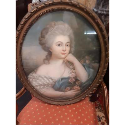 Pastel 'Jeune femme au collier de perles'