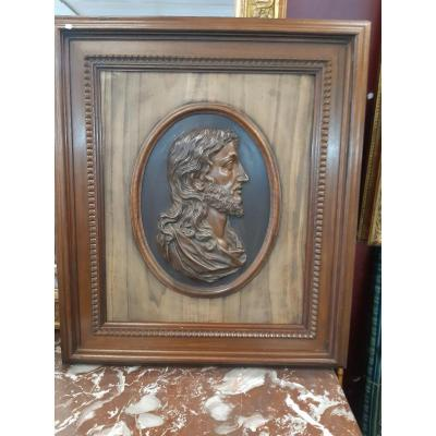 Large Christ Bas Relief In Bronze