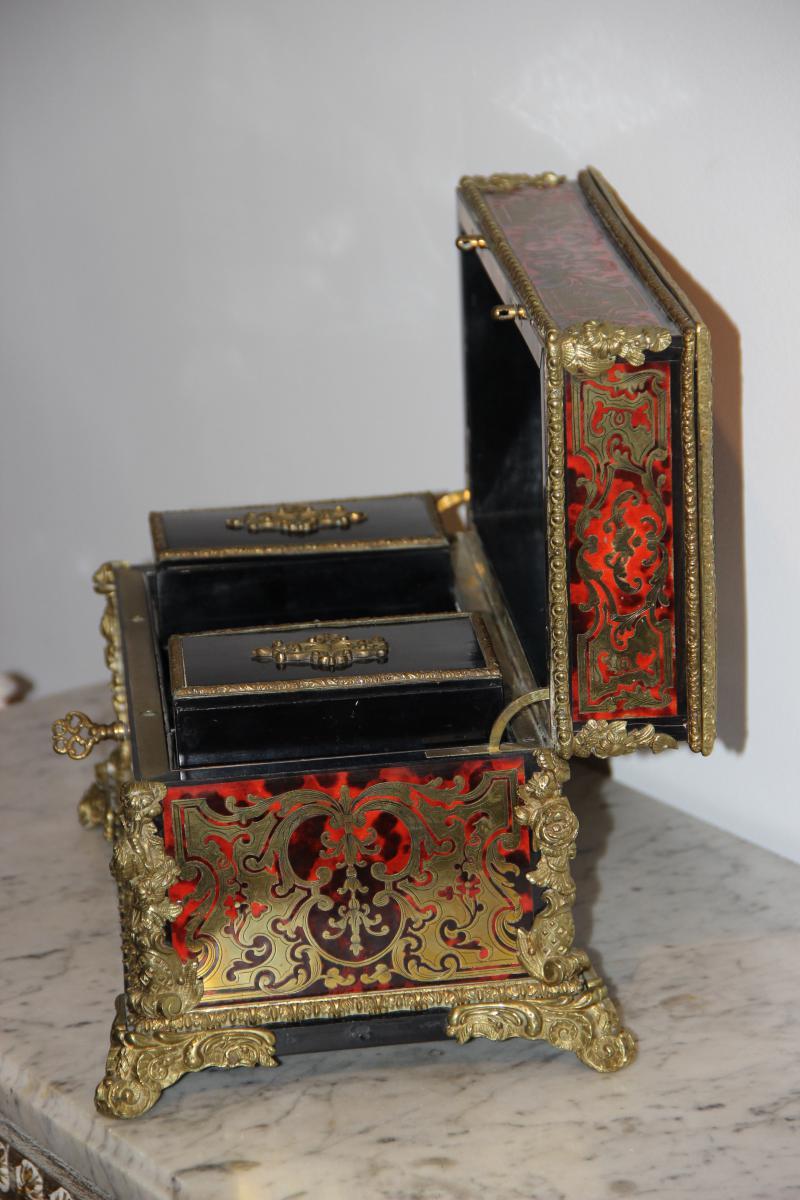 coffret boite th en marqu terie boulle d poque napol on iii bo tes tuis n cessaires. Black Bedroom Furniture Sets. Home Design Ideas