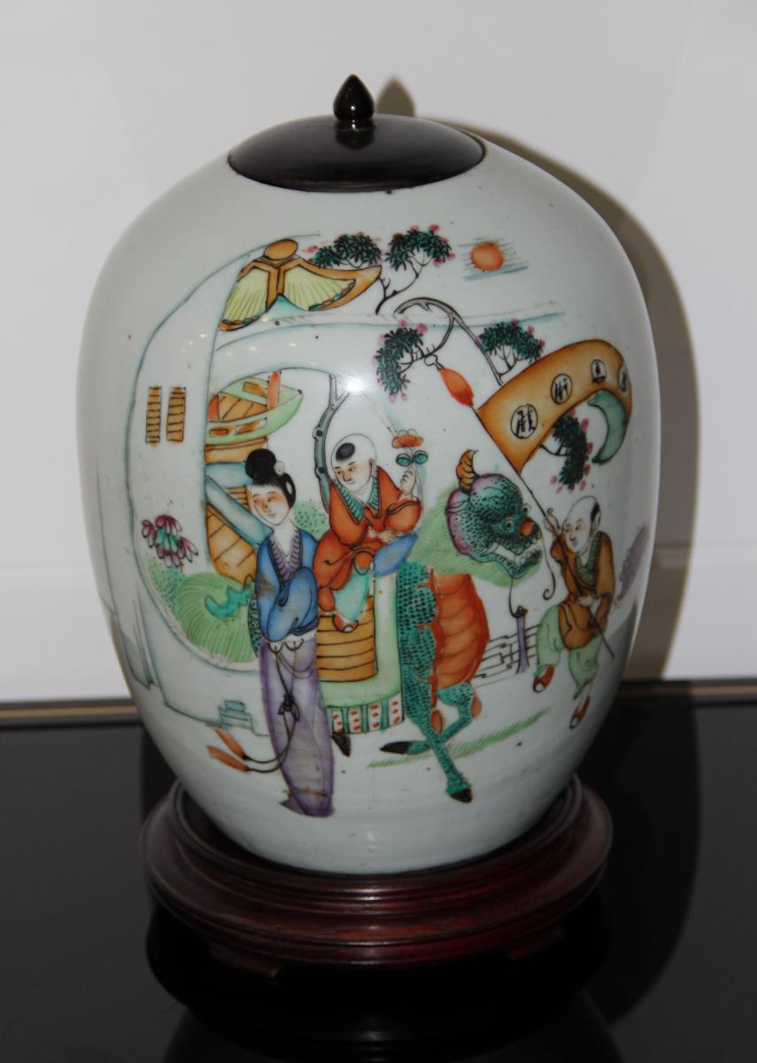 Potiche En Porcelaine De Chine émaux Polychrome XIXéme