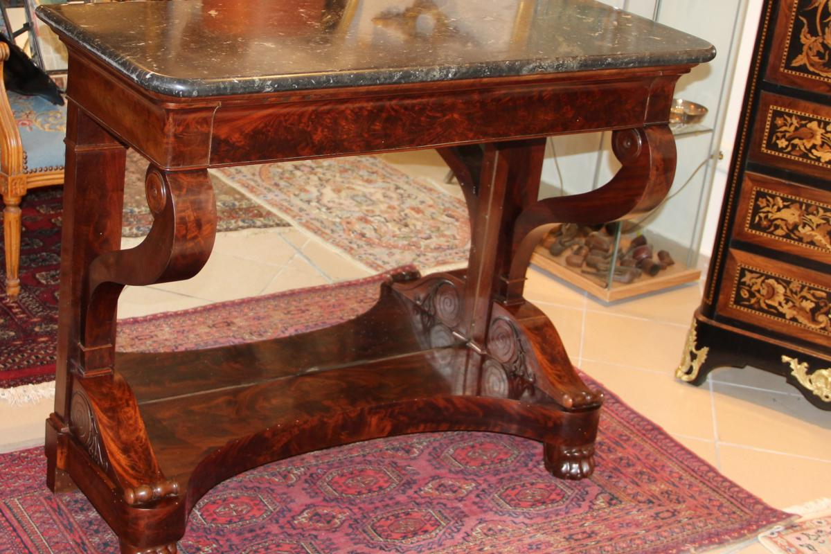 Console Empire In Flamed Mahogany D, XIXth Century