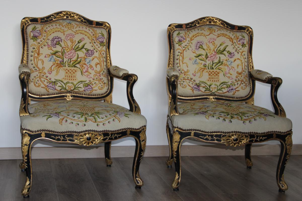 Paire De Fauteuils à La Reine Napoléon III