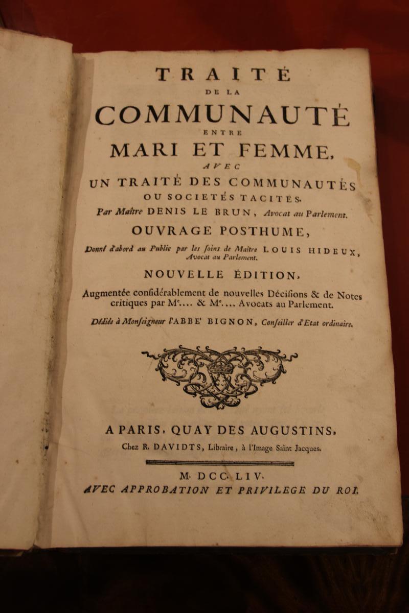 Traité De La Communauté Entre Mari Et Femme 1754 Par Denis Le Brun