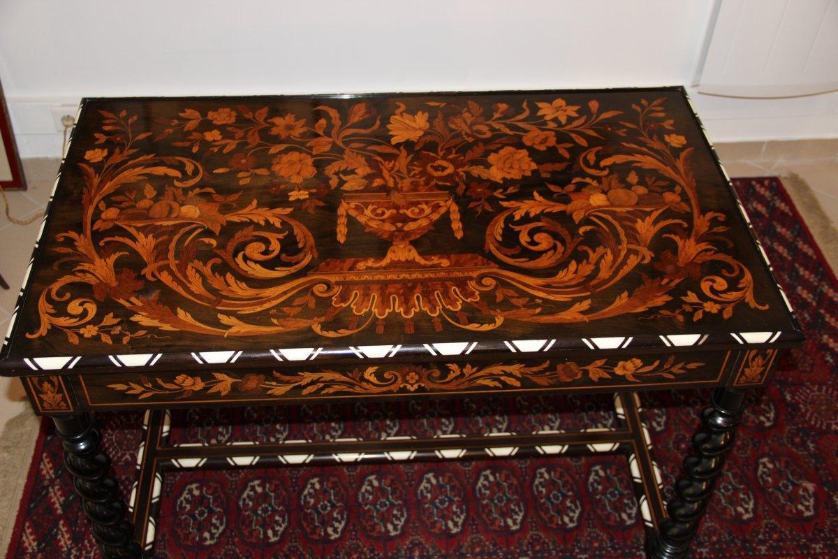 Table Tric Trac En Marqueterie Florale D,époque Napoléon III