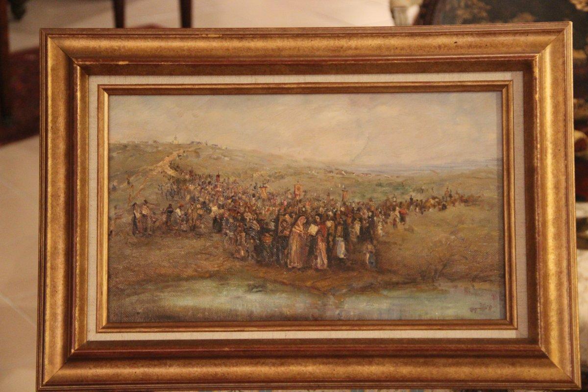 """Peinture de  Vladimir Poussovski  1951 """" Procession """" Ecole Russe"""