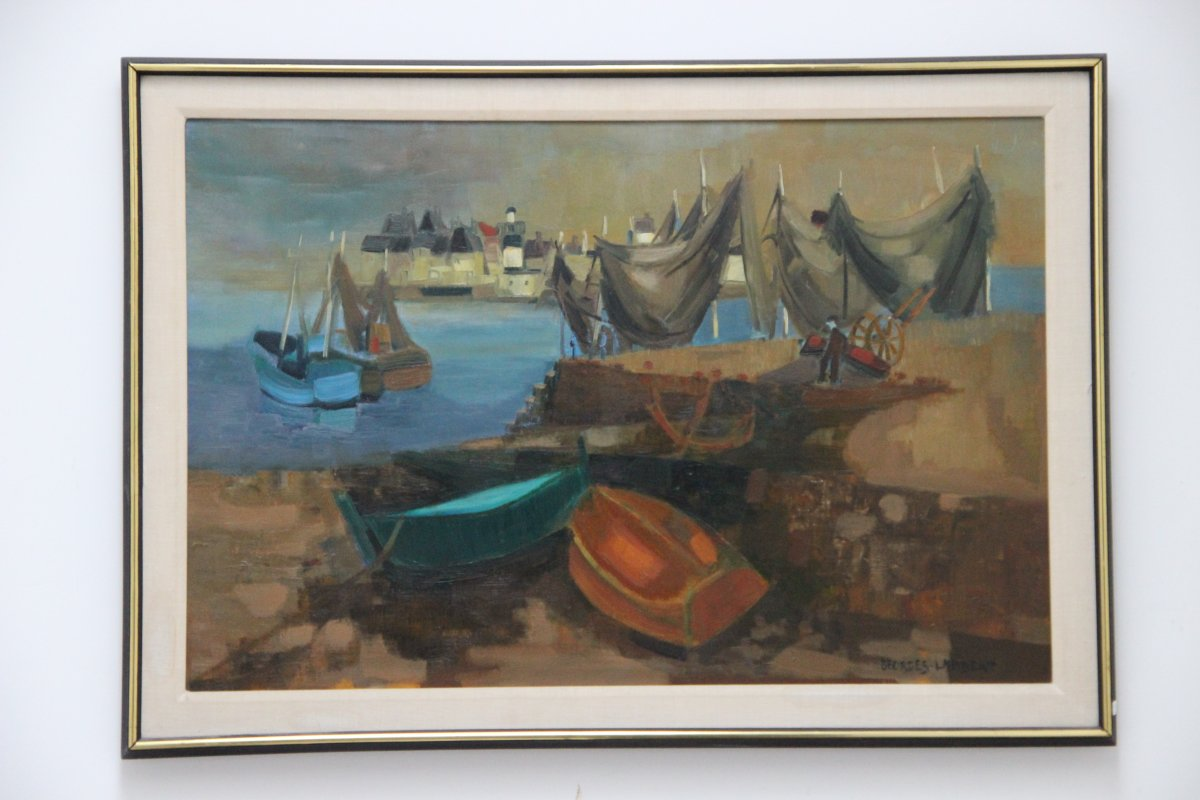 Painting By Georges Lambert 1919-1998 Port De Guilvinec In Brittany