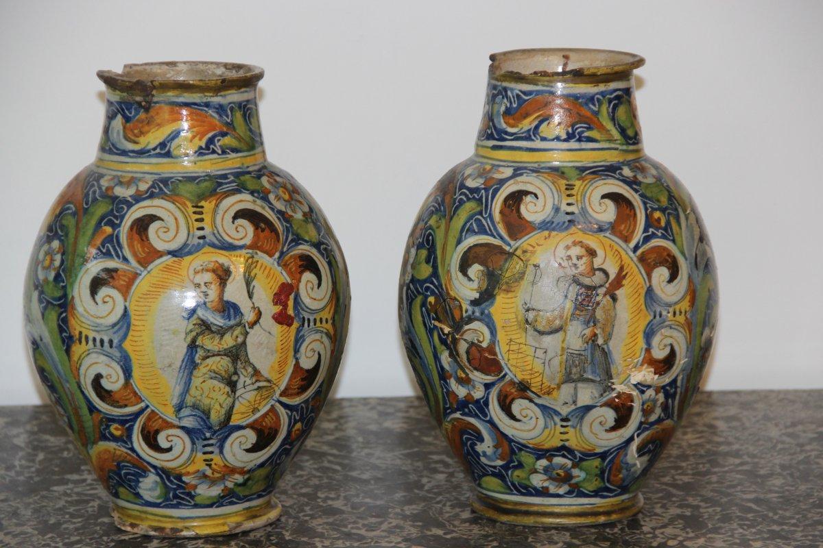 Venise XVIéme Paire De Vases Boule Décor Polychrome