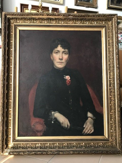 Oil On Canvas Large Portrait Of Lady Of The XIXth Signed