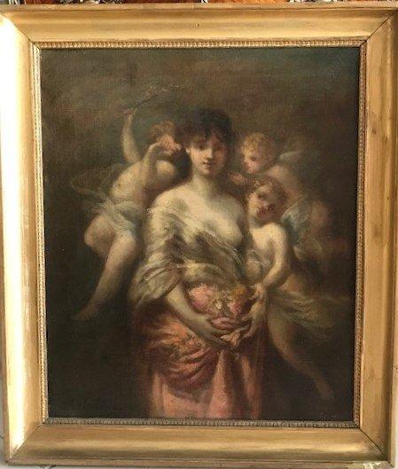 Peinture De Marie Rosalbin De Buncey 1833-1891  Nymphe Et Putti-photo-3