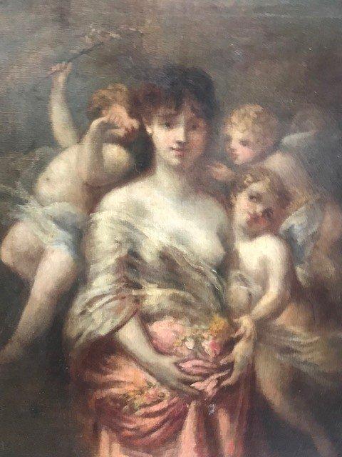 Peinture De Marie Rosalbin De Buncey 1833-1891  Nymphe Et Putti-photo-1
