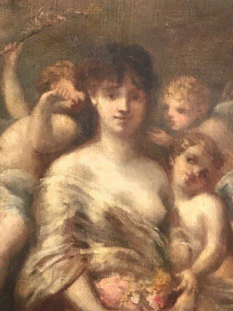 Peinture De Marie Rosalbin De Buncey 1833-1891  Nymphe Et Putti-photo-2