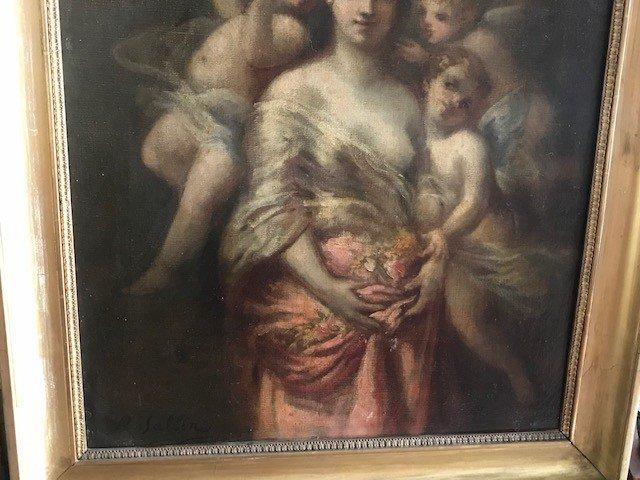 Peinture De Marie Rosalbin De Buncey 1833-1891  Nymphe Et Putti-photo-4