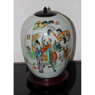 Potiche En Porcelaine De Chine émaux Polychrome XVIIIéme