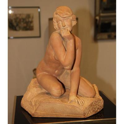 Sculpture En Terre Cuite Art Déco Signée Emile Fernand Dubois