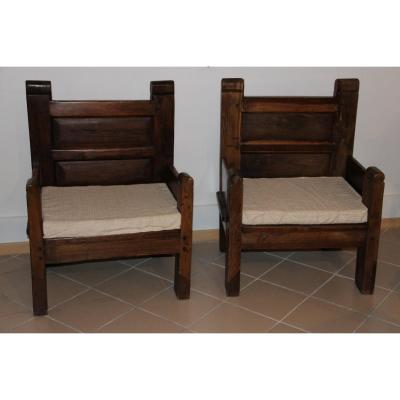 Pair Of Large Spanish Armchairs From The Eighteenth