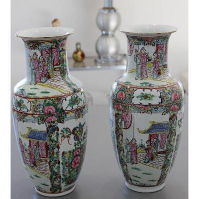 Grande Paire De Vases En Porcelaine De Chine