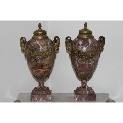 Pair Of Cassolettes Marble And Bronze Louis XVI Style