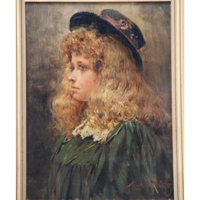 Maurice Orange 1868-1919 Painting Girl With Hat