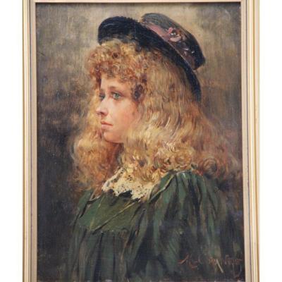 Maurice Orange 1868-1919 Peinture Jeune Fille Au Chapeau