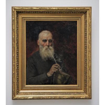 Gustave Krabansky 1852-1903 Portrait d'Un Homme Fumant La Pipe