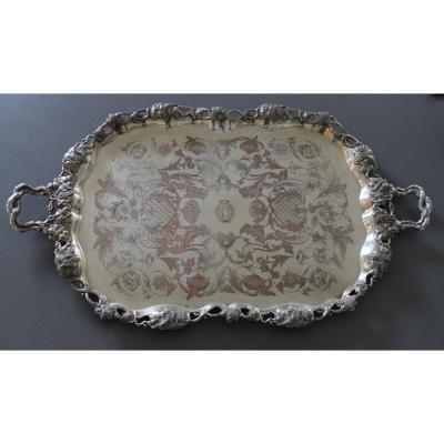 Large Metal-silver Serving Tray In Pampres And Vine Clusters